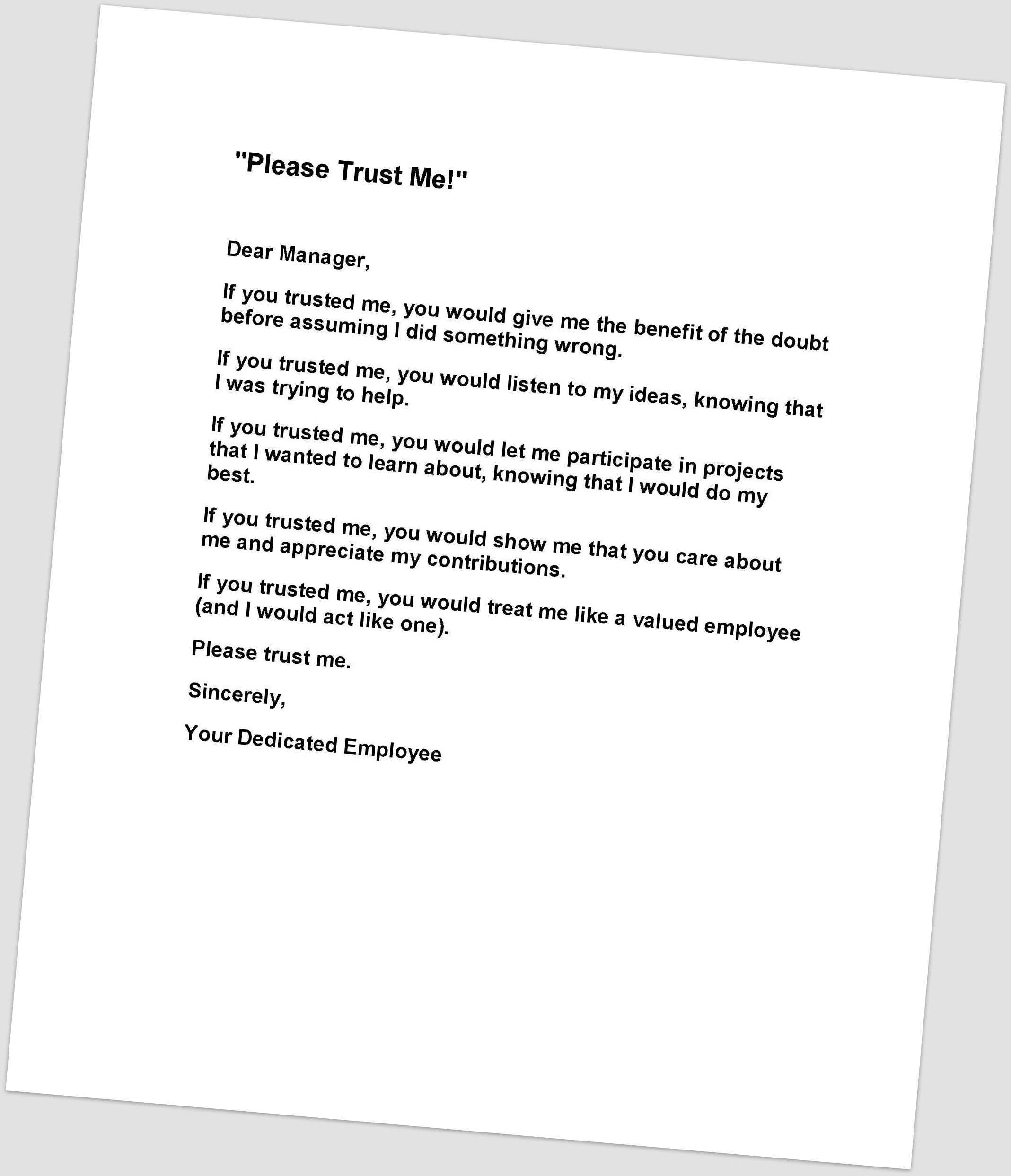 Dear Manager Letter